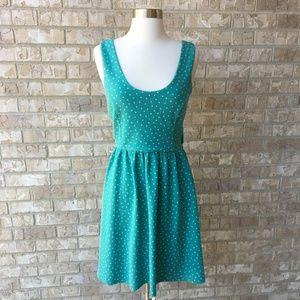 NWOT LC PolkaDot Dress Teal Dress Open Back S